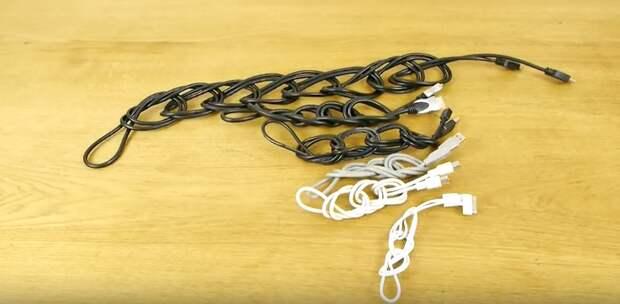 Простой способ хранить даже самые длинные провода компактно и аккуратно