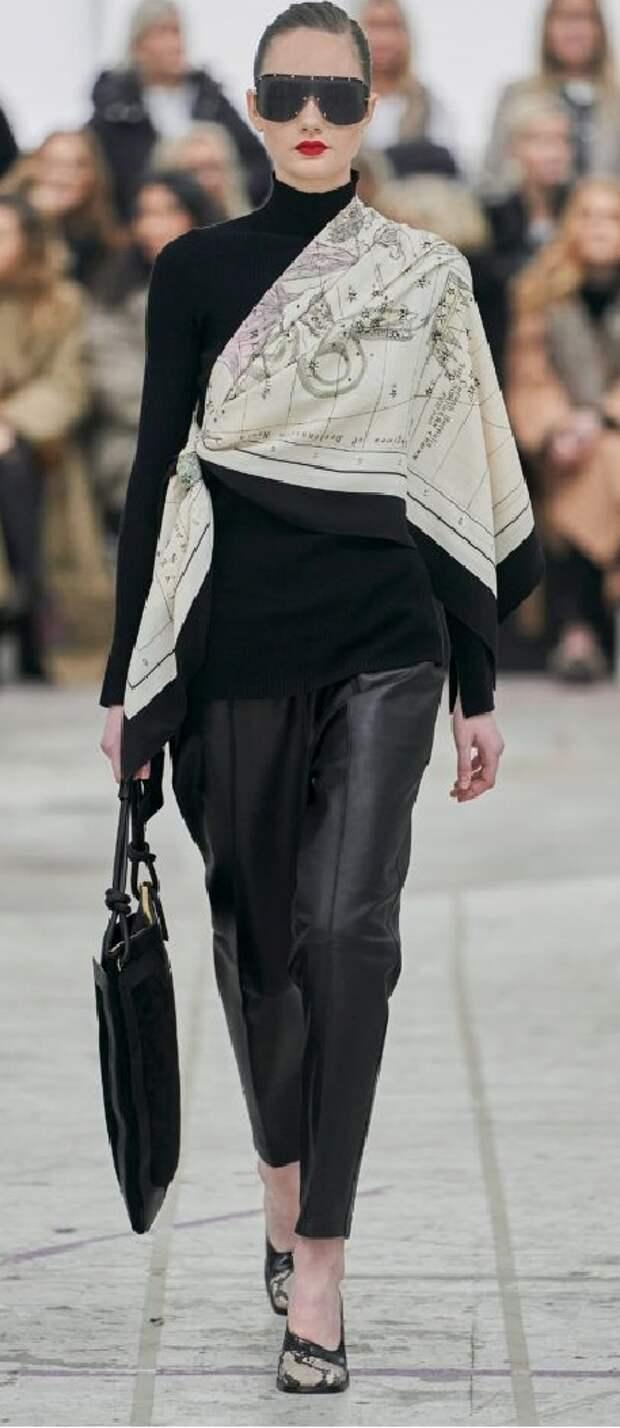 10 идей носить шелковый платок стильно в холодное время года