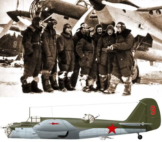 Экипажи 214-го СБАП 23-й САД у самолётов СБ 2М-105, зима 1940–1941 гг. Внизу реконструкция внешнего вида бомбардировщика по фото - «Бить танки противника до полного их уничтожения…» | Warspot.ru