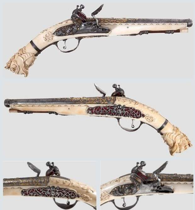 Кремневый пистолет с богатой резьбой из слоновой кости, конец 17-го века. искусство, огнестрел, оружие, старинное