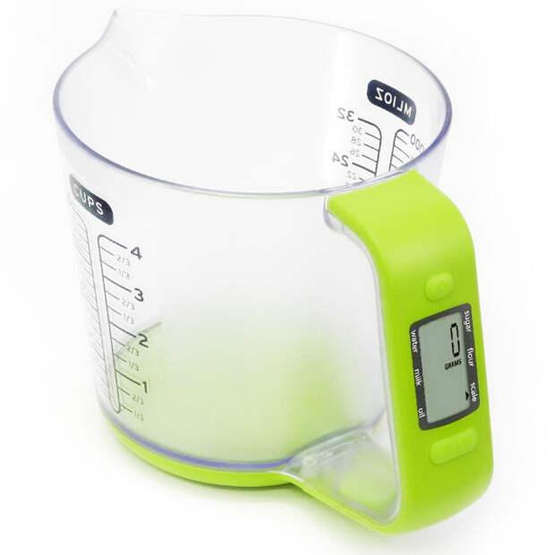 Мерный стакан со встроенными цифровыми весами, который позволит измерять объем и вес.