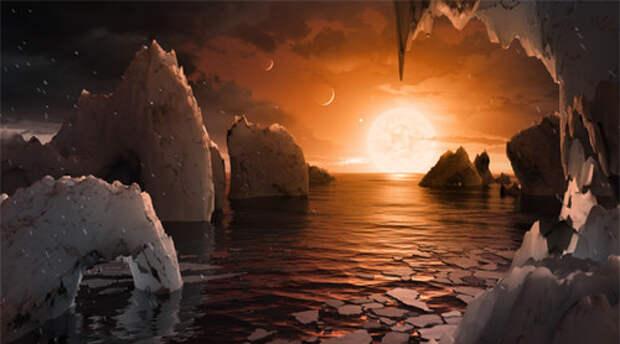Так выглядит возможный мир на одной из планет системы Trappist-1, по иллюстрации NASA.