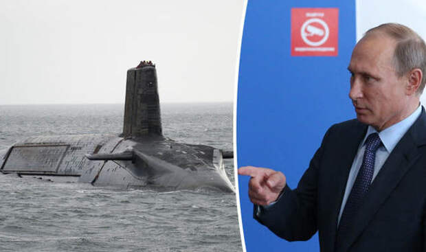 A Trident submarine, left, and Vladimir Putin, right
