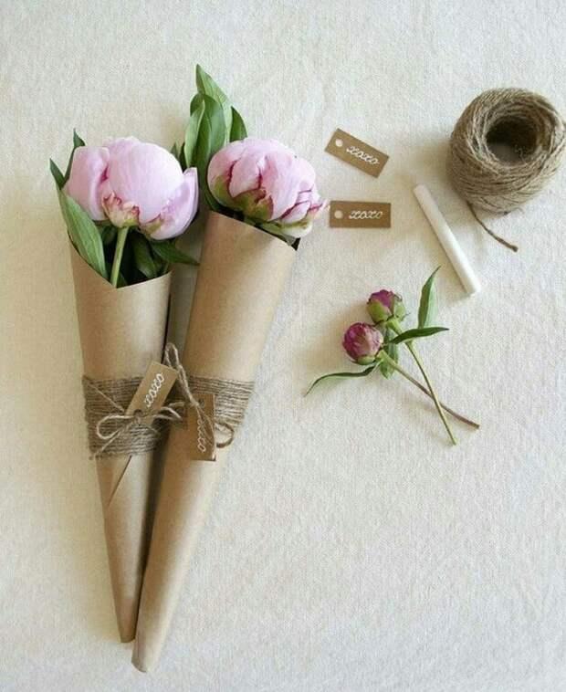 Идея упаковки пионов и роз