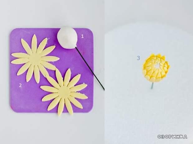 начинаем делать желтые цветочки из маршмеллоу