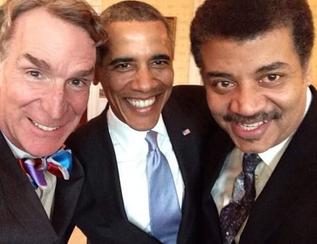 Барак Обама, Билл Най и Нил де Грасс Тайсон, 2014 звезды, люди, фото