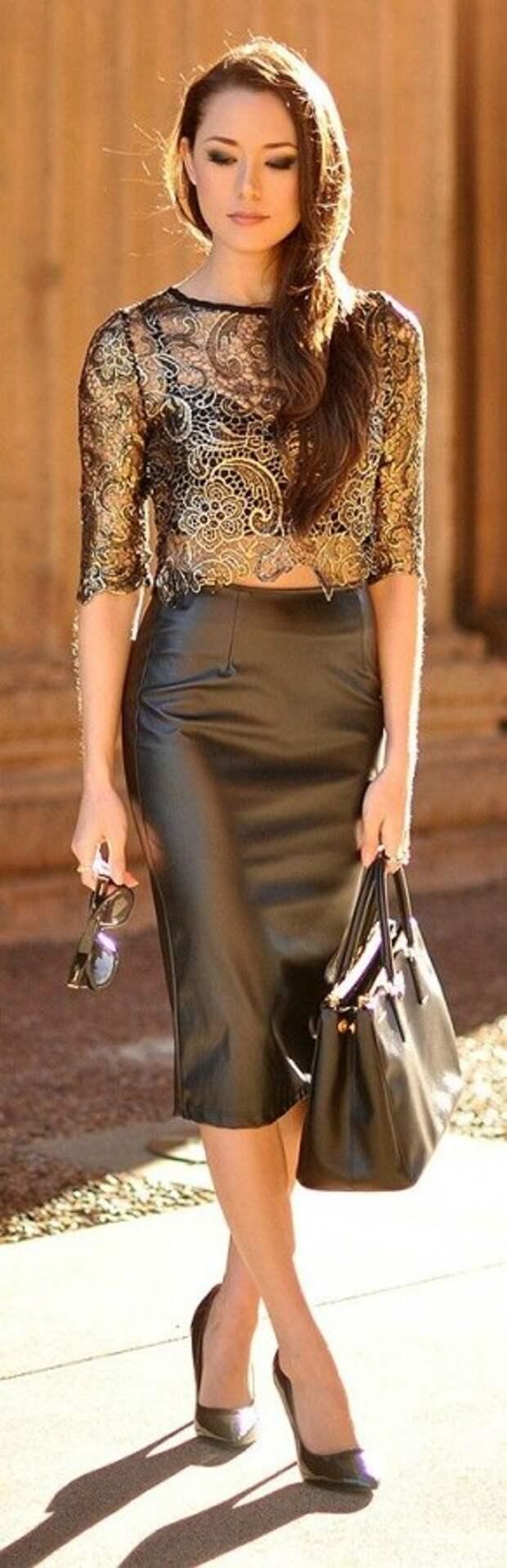 кожаная юбка+кружево