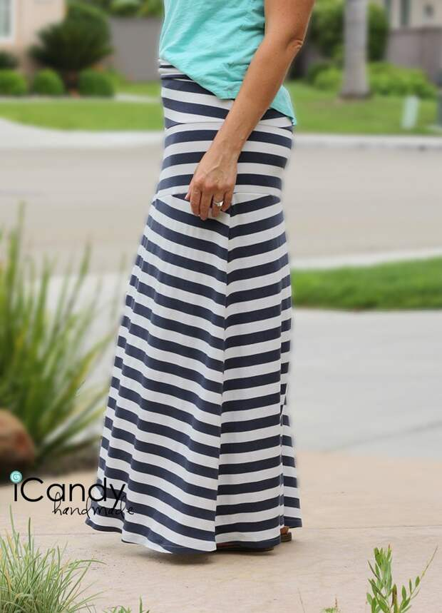 Выкройка оригинальной полосатой юбки (DIY)
