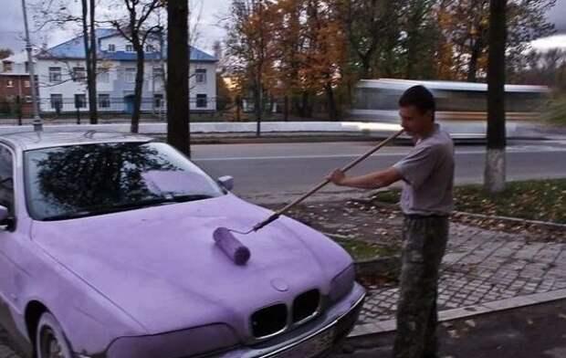 6. Иногда бывает, что красят вообще не в те цвета, в которые хотел, потому что паркуешься, как не очень хороший человек автомобильные приколы, перекрасил тачку, понты, рисунок на авто, фото, юмор