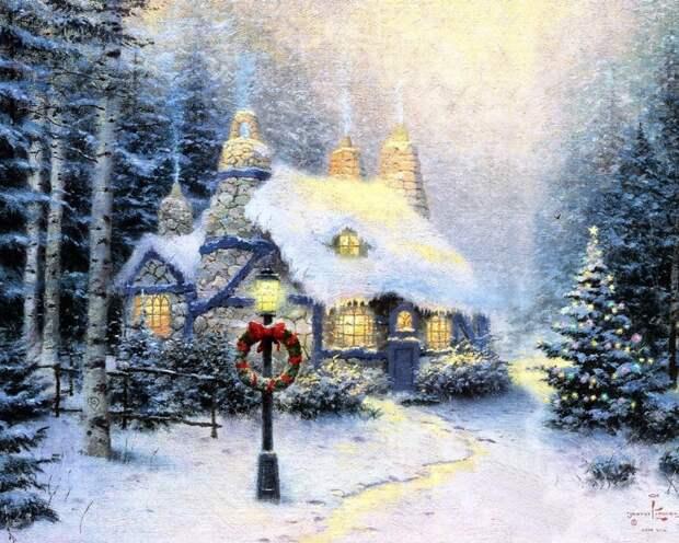 коттедж, венок, рождество, украшение, зимний, пейзаж, рожденственский, картина, окна, берёзы, гирлянда, ёлки, каменный, живопись 1280x1024