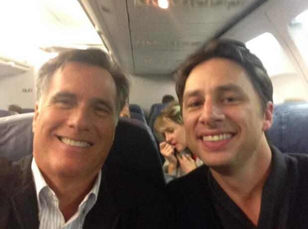 Митт Ромни и Зак Брафф, губернатор Массачусетса и актёр, 2014 звезды, люди, фото