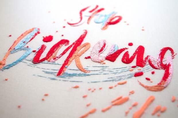 вышивки букв и слов