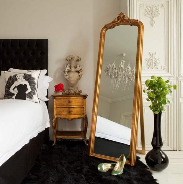 Спальня без окон дизайн, зеркала