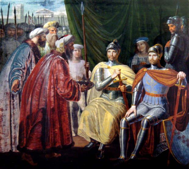 Роберт Гвискар и Рожер Сицилийский принимают ключи от  города Палермо.
