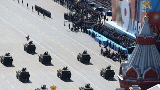 Бронетранспортеры БТР-82А на военном параде на Красной площади, посвященном 69-й годовщине Победы. Архивное фото