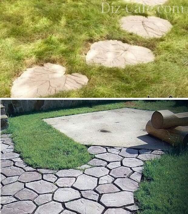 Оригинально выполненные садовые дорожки