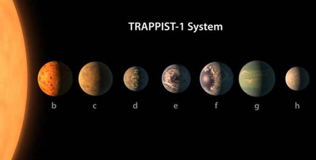 Так выглядит парад планет в звездной системе Trappist-1, фото с официального сайта NASA