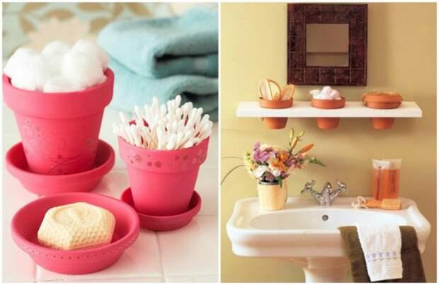 Цветочные горшки для хранения мелочей в ванной