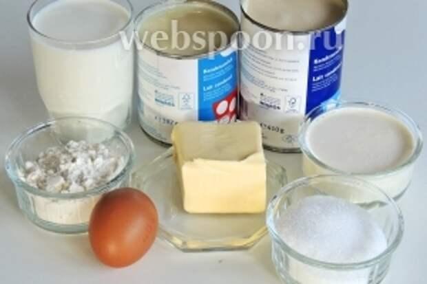 Подготовим ингредиенты: масло комнатной температуры, муку с разрыхлителем, яйца, сахар и ванильный сахар, сливки жирностью 35%, молоко, концентрированное молоко (топлёное) и сгущённое молоко.