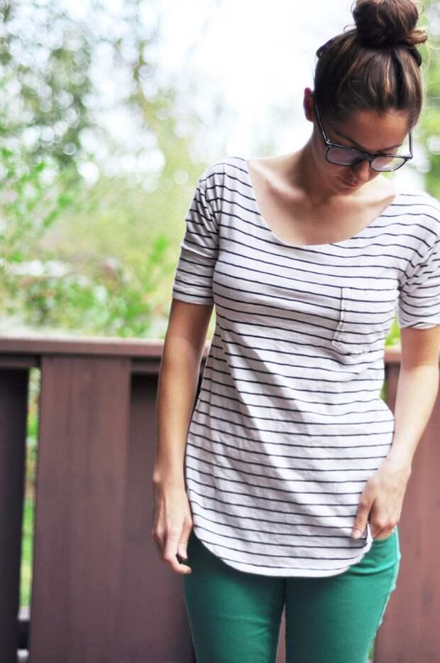 Красивая идея переделки мужской футболки (Diy)