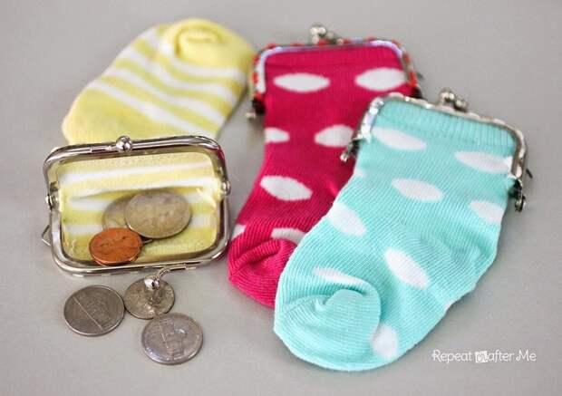 Кошелек для мелочи носки, сделай сам