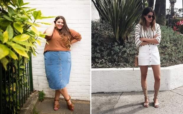Девушки с любым размером одежды могут смело выбирать юбку на застежке в виде кнопок или пуговиц.
