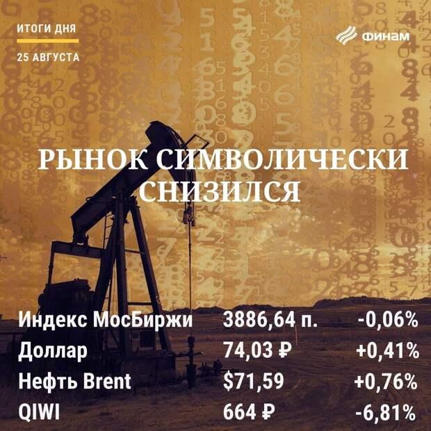 Итоги среды, 25 августа: Дорожающая нефть не смогла спасти российский рынок от снижения