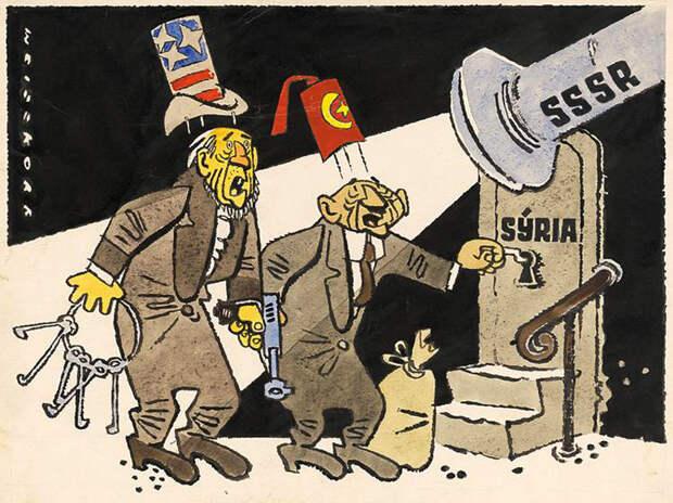 """""""Агрессоры обнаружены!"""", рисунок из чехословацкого журнала Roháč, 1958"""