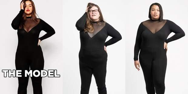 Облегающий комбинезон с прозрачными вставками от ASOS Curve: Кристин - размер 16, Шеридан - размер 18 интернет, полные женщины, шопинг