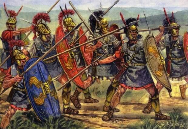 Ранние римские легионы мало чем отличались от войск соседей и активно использовали точно такое же защитное снаряжение. /Фото: ya.ru.