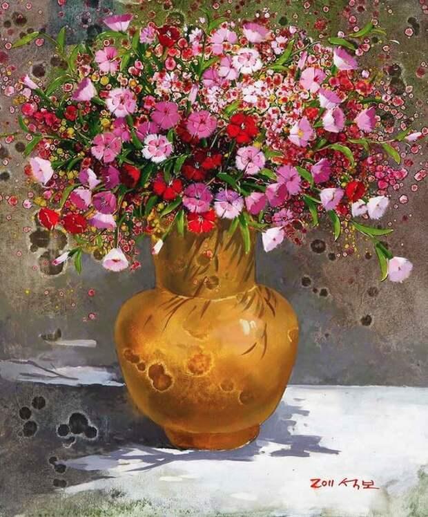 Корейский художник Yi Seong-bu. Натюрморт с цветами. Картина первая