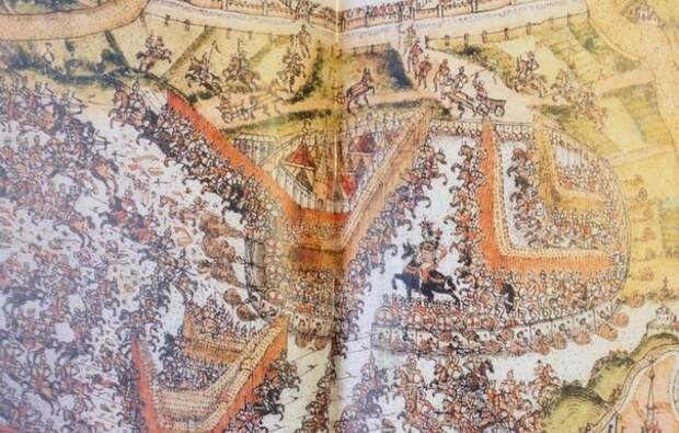 Изображение штурма Москвы войсками крымского хана Казы-Гирея в 1591 году.