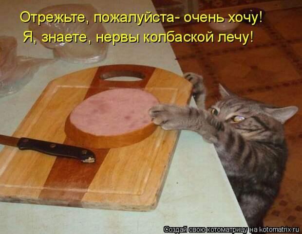 Котоматрица: Отрежьте, пожалуйста- очень хочу! Я, знаете, нервы колбаской лечу!