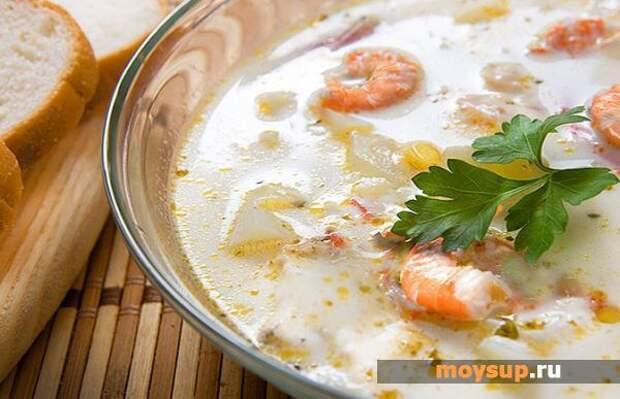 Сырный крем-суп с добавлением креветок