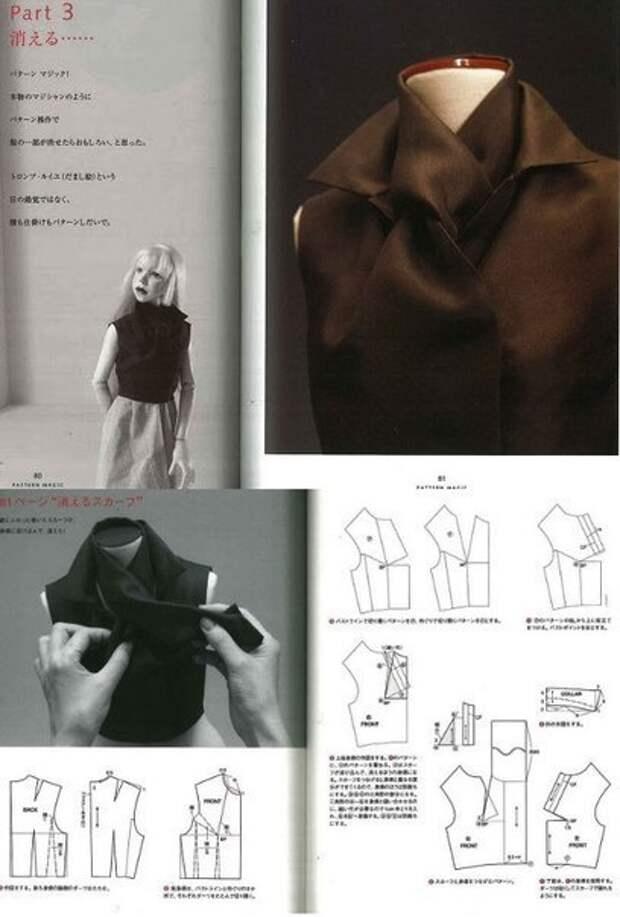 Креативные выкройки воротников из японской книги