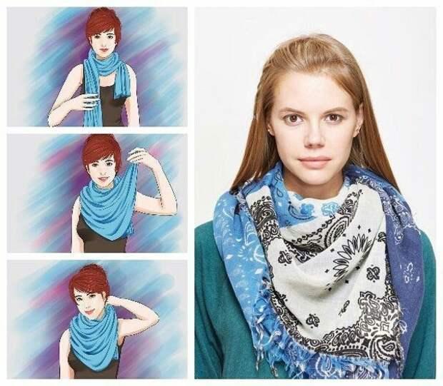 Как носить широкие шарфы