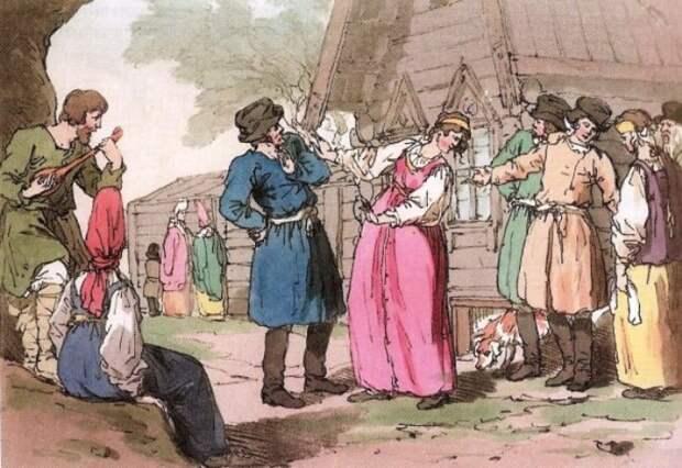 Дж. А. Аткинсон. Русский народный танец *Голубец*, 1804