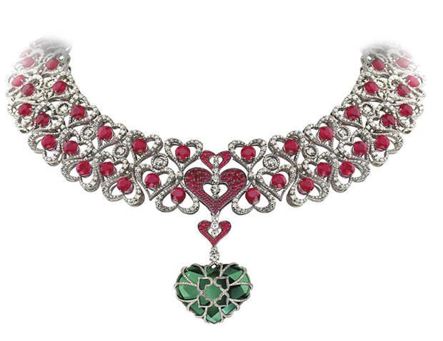 Avakian heart shaped Columbian emerald necklace