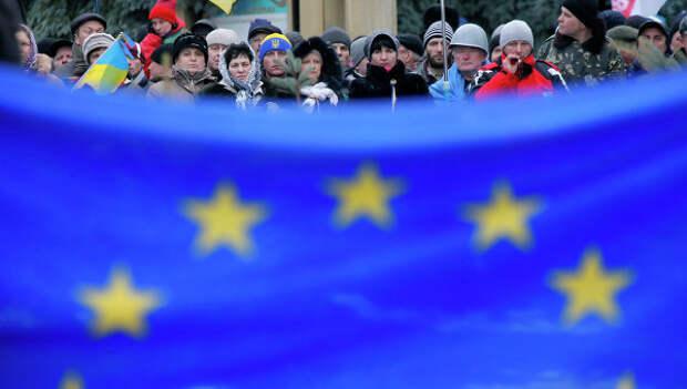 Флаг Евросоюза. Киев. Архивное фото.