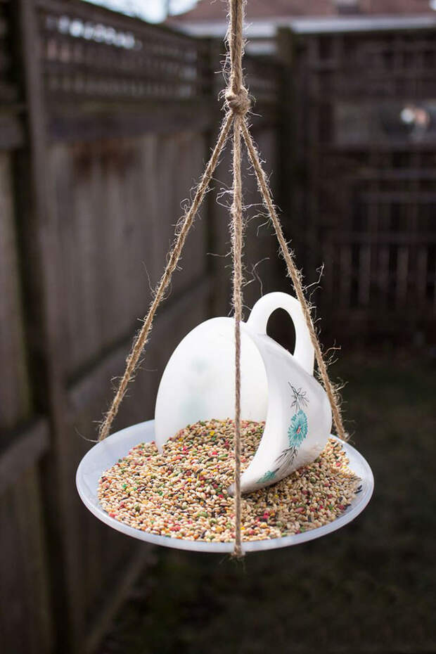 23. Кормушка для птиц из чашки и блюдца винтаж, посуда, совет, хитрости