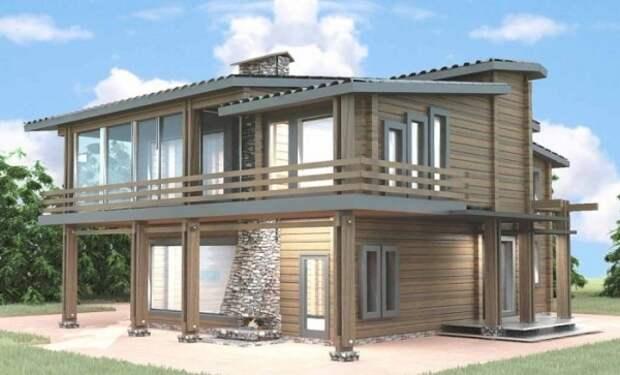 Современное решение для деревянного дома с камином, стеклянными стенами, террасами и нестандартной кровлей.