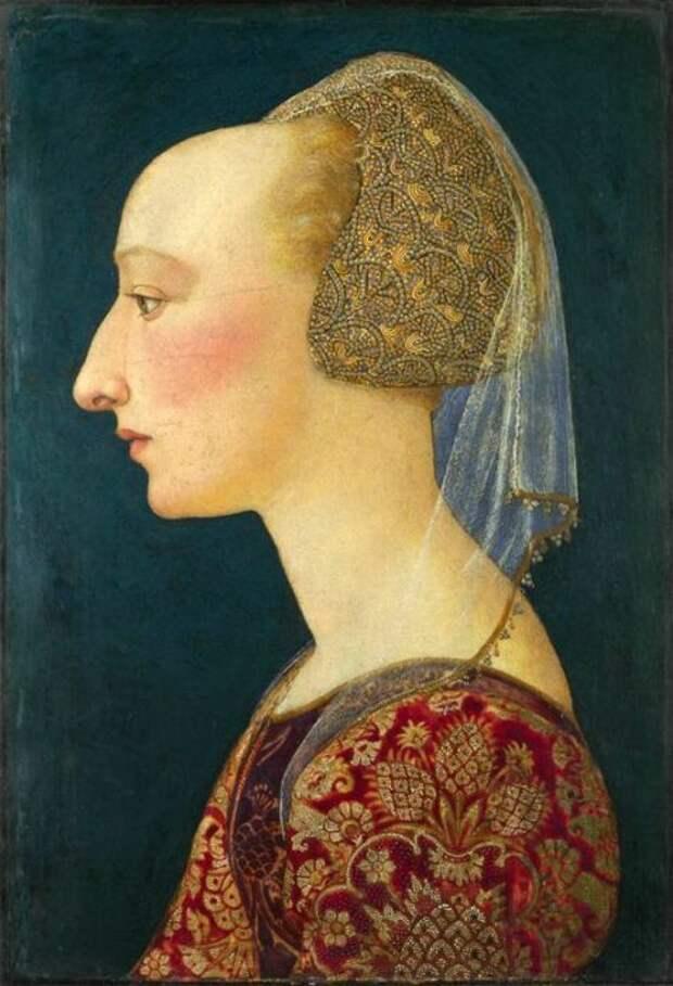 1460-70, портрет флорентийки. Национальная галерея, Лондон. /Фото:pinterest.it