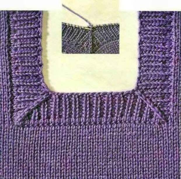Вязание спицами для начинающих. Бейки горловины.