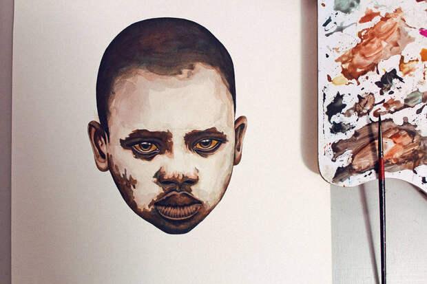 Гиперреалистичные портреты, написанные акварелью