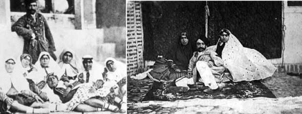 Насер ад-Дин Шах Каджар c некоторыми женщинами из гарема.
