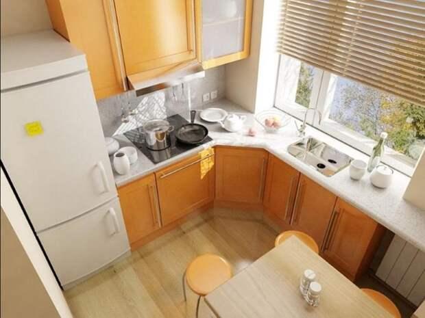 Обеденный стол и планировка маленькой кухни
