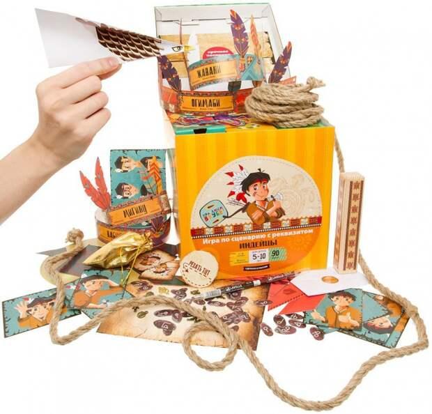 Коробка с игрой про индейцев