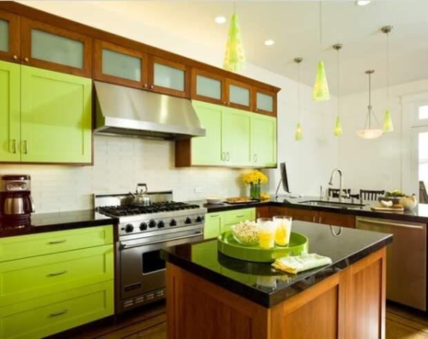 Кухня цвета лайм в стиле модерн