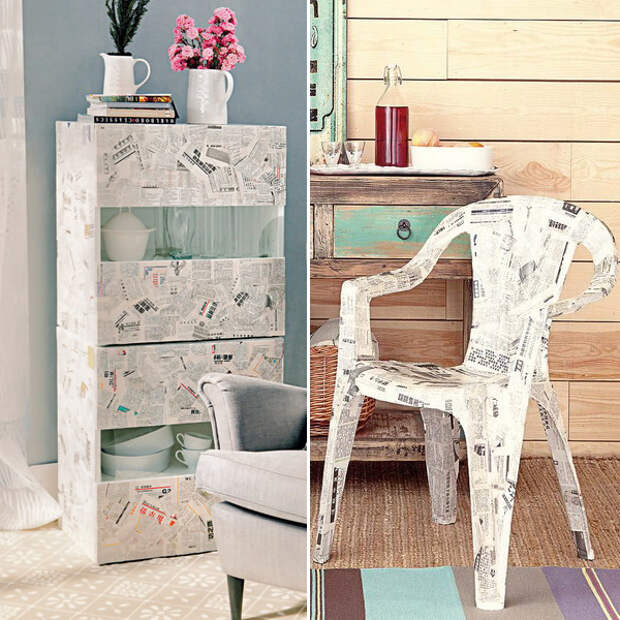 Декупаж мебели из газет: 2 мастер-класса