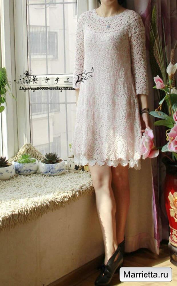 Летнее кружевное платье крючком узором ананас (7) (396x642, 256Kb)
